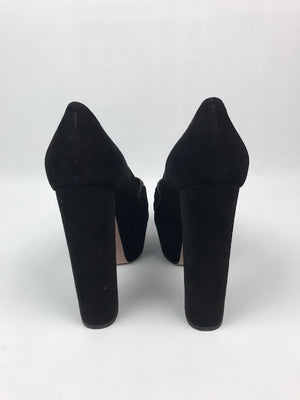 Gucci Tassel Pumps Black Suede 39.5
