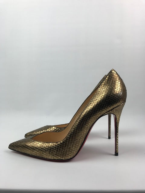 Christian Louboutin Bronze Watersnake Pumps 38.5