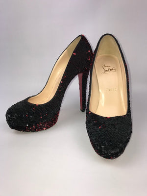 Brand New Christian Louboutin Binca Sequin Paillettes 39