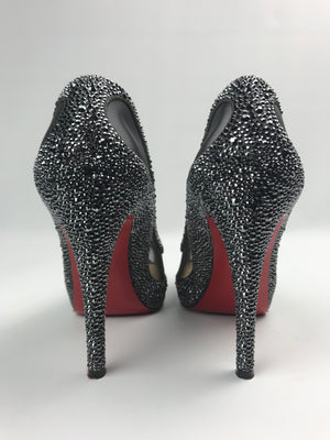 Christian Louboutin Strass Peep-Toe Pumps 38.5