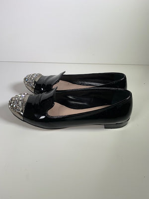 Miu Miu Black Patent Crystal Loafers 40