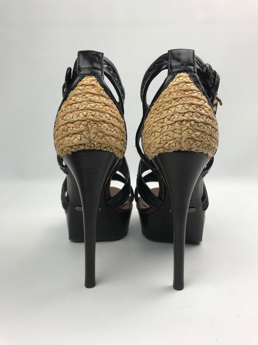Brand New Burberry Prorsum Raffia Patent Sandals 36