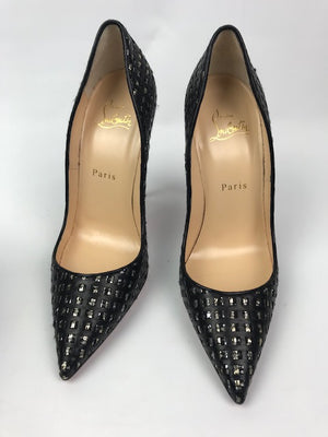 Christian Louboutin So Kate Metallic Black Pumps 37.5