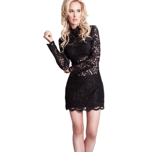 Jovani Black Lace High Neck Dress Size 8-10 UK
