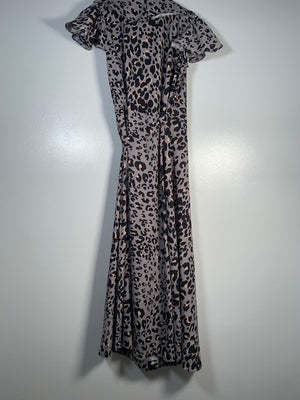 Lily And Lionel Leopard-print Wrap Dress Size 8-10 UK