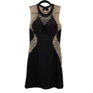 Xtreme Black Backless Crystal Dress. Size 6-8 UK