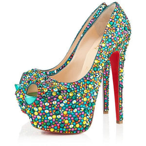 Brand New Christian Louboutin Highness Multicolour Strass 37