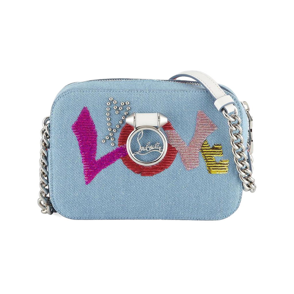 30762379a66 Brand New Christian Louboutin Rubylou Mini Love Denim Bag