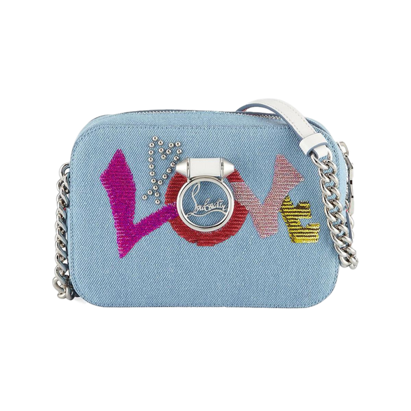 Brand New Christian Louboutin Rubylou Mini Love Denim Bag