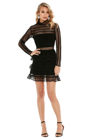 Self Portrait Tiered Black Lace Mini Dress Size 8 UK