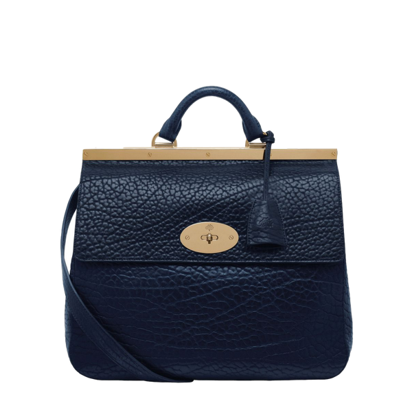 Mulberry Suffolk Handbag Navy Shrunken Calf Leather