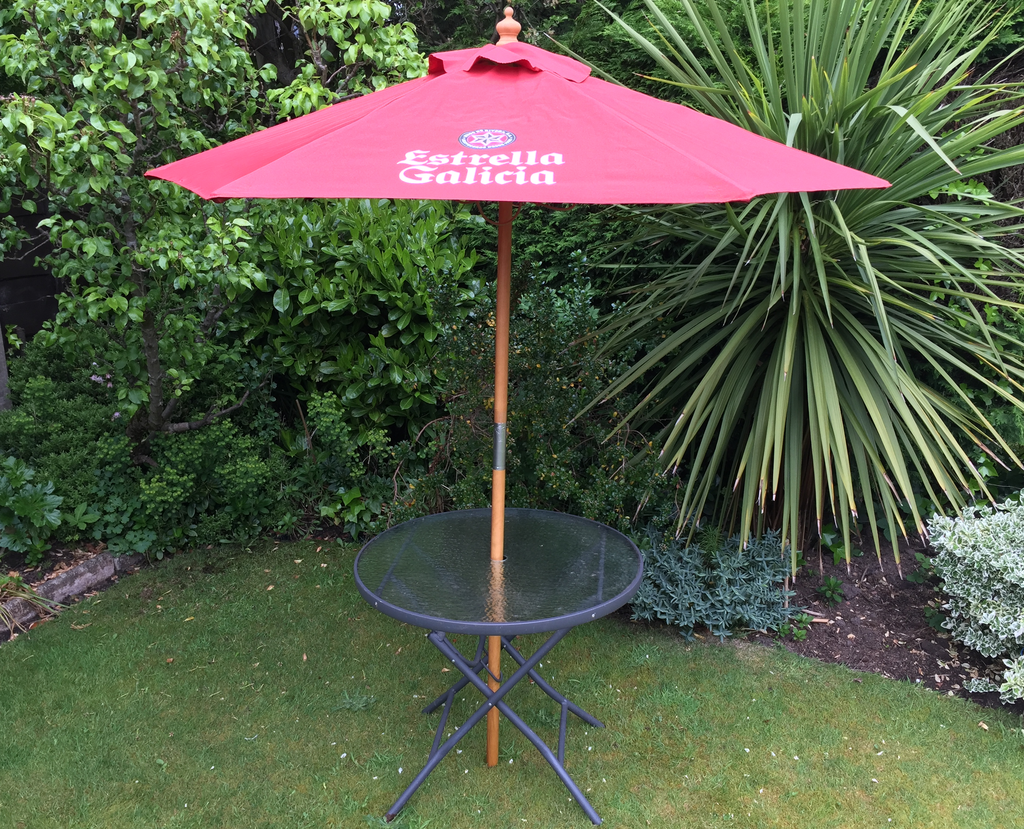 Windsor 2m Round Wooden Printed Parasol