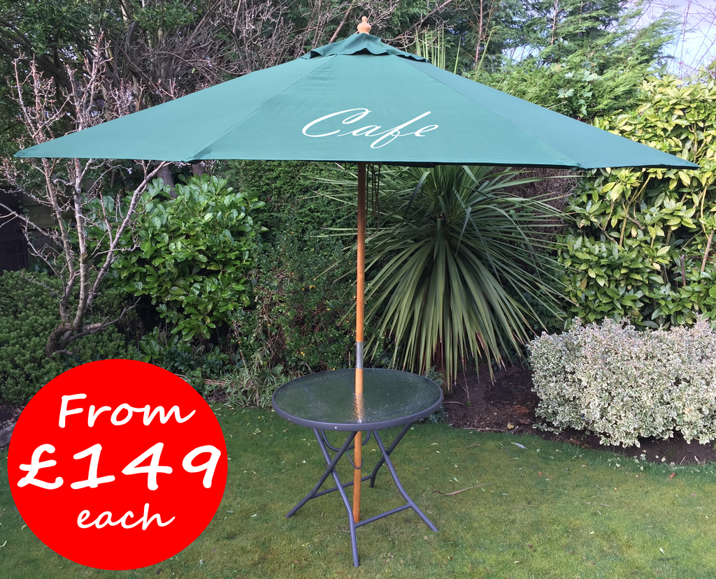 3 Metre Windsor Wooden Printed Parasols