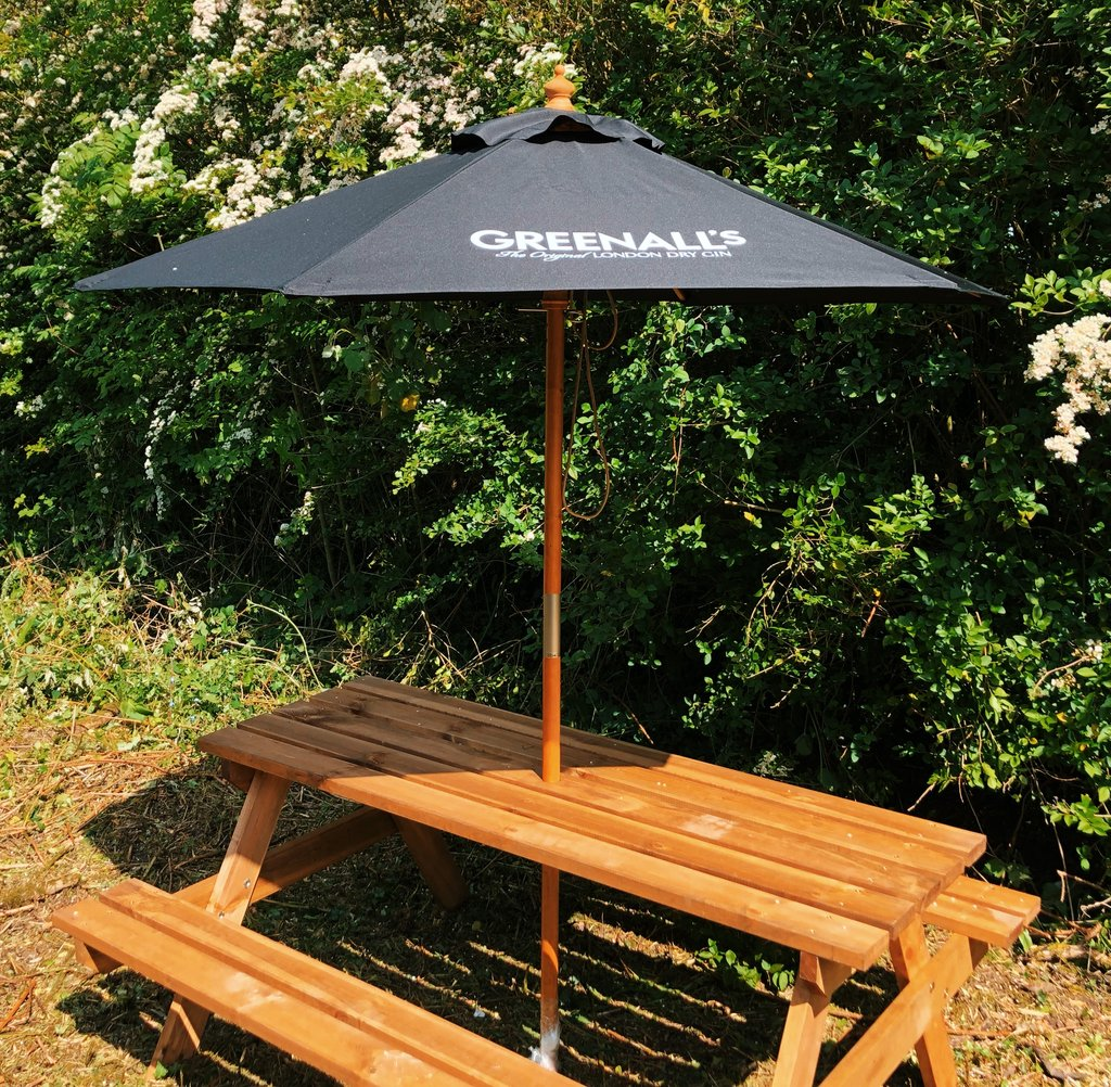 Windsor 2 Metre Round Wooden Printed Parasol - As low as £58 each Printed & Delivered