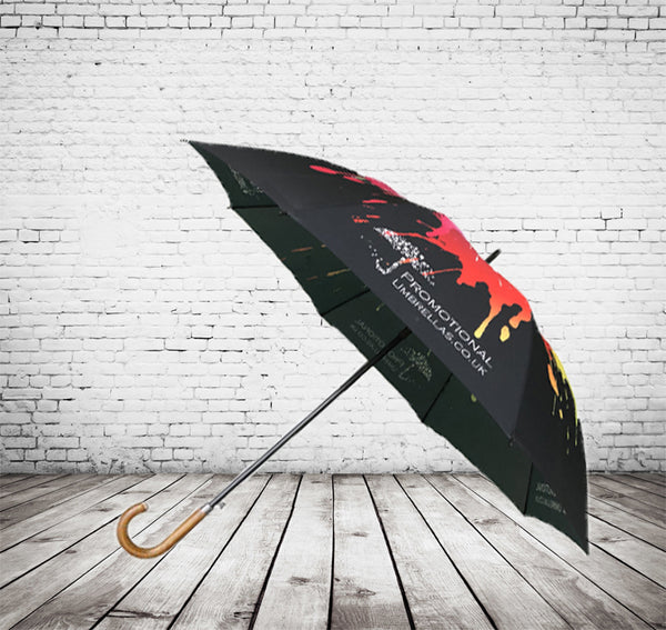 Automatic Corporate Gents Walking Umbrella Full Canopy Print