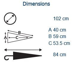 City Commuter Solid Umbrella Dimensions