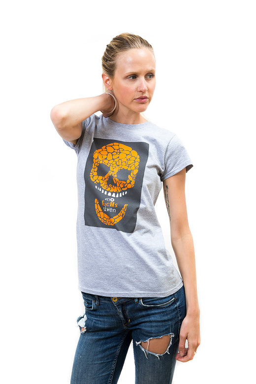 Ladies Grey Square Skull T-Shirt