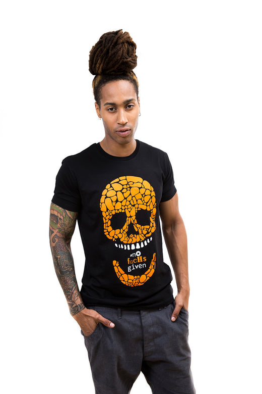 Mens Orange Skull T-Shirt