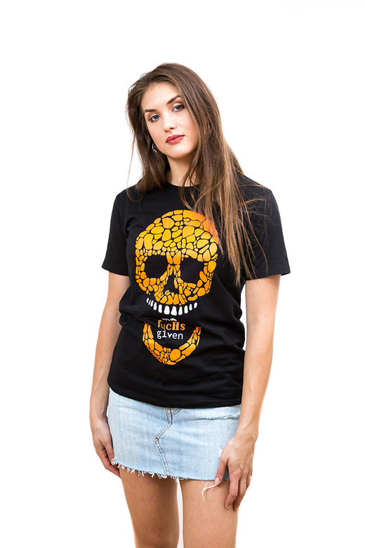 Ladies Orange Skull T-Shirt