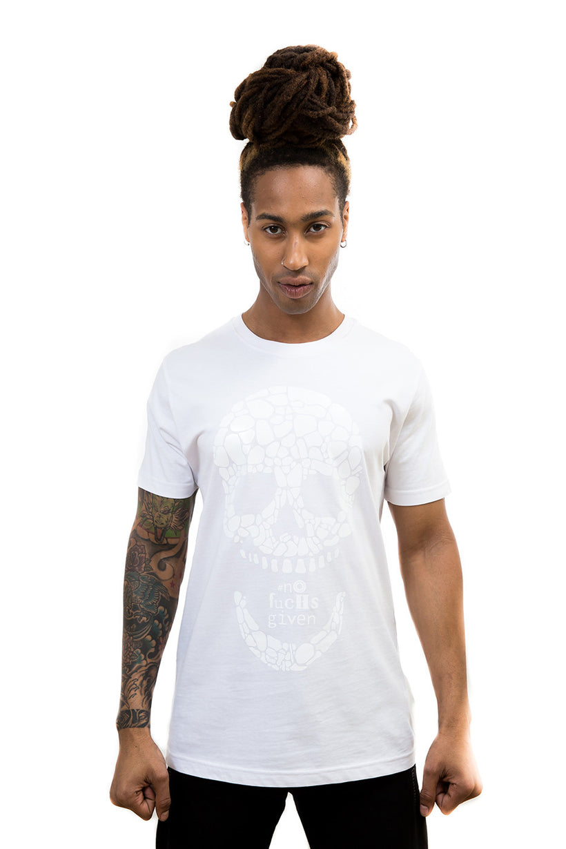 Unisex Gloss White Skull T-Shirt