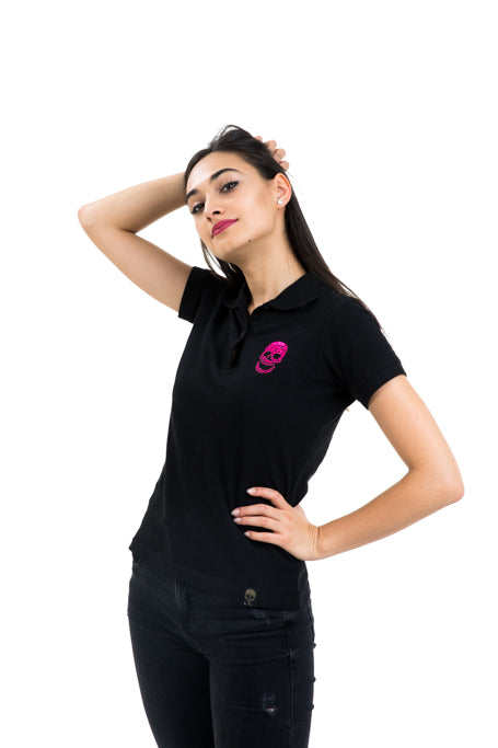 Ladies Black Polo Pink Skull