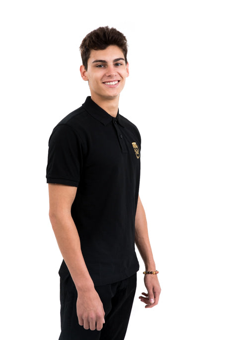 Mens Black Polo Gold Skull