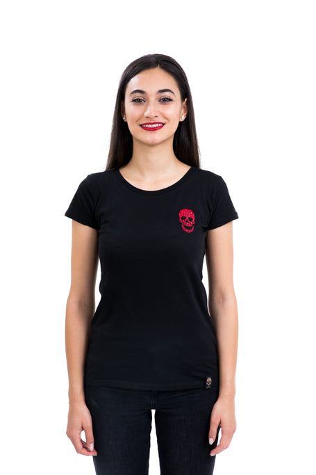 Ladies Fitted Red Skull Black Tee