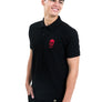 Mens Black Polo Red Skull