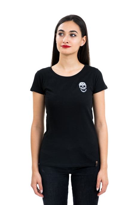 Ladies Fitted White Skull Black Tee