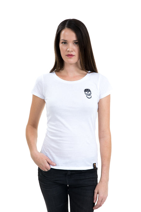 Ladies Fitted Black Skull White Tee