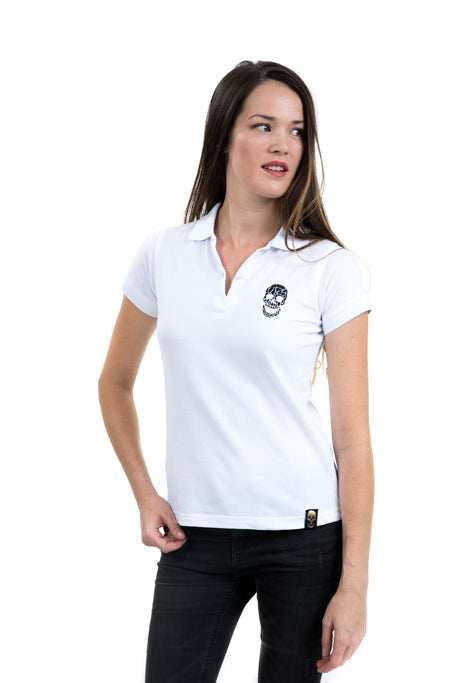 Ladies White Polo Black Skull