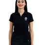 Ladies Black Polo White Skull