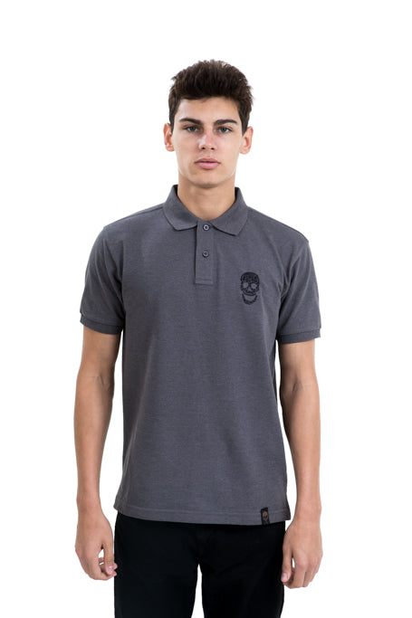 Mens Grey Polo Black Skull