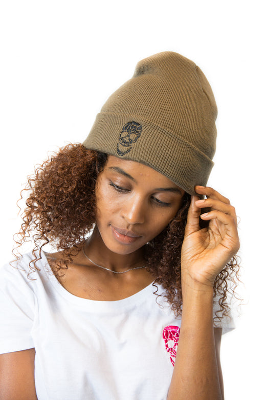 Knitted Turn-Up Beanie Olive