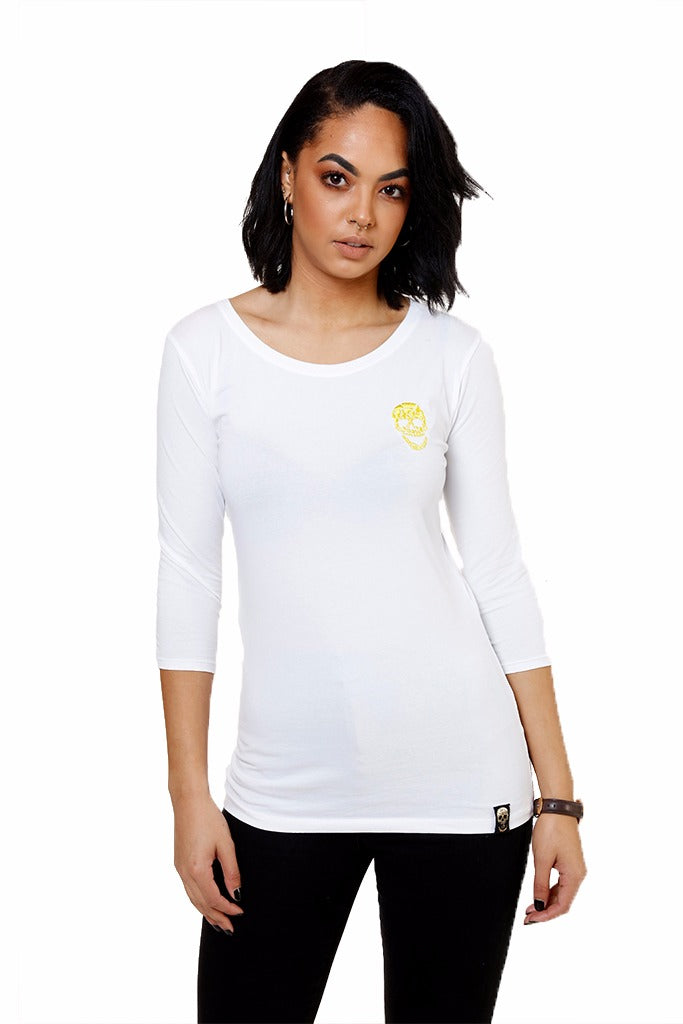 Ladies White 3/4 Sleeve Stretch Shirt