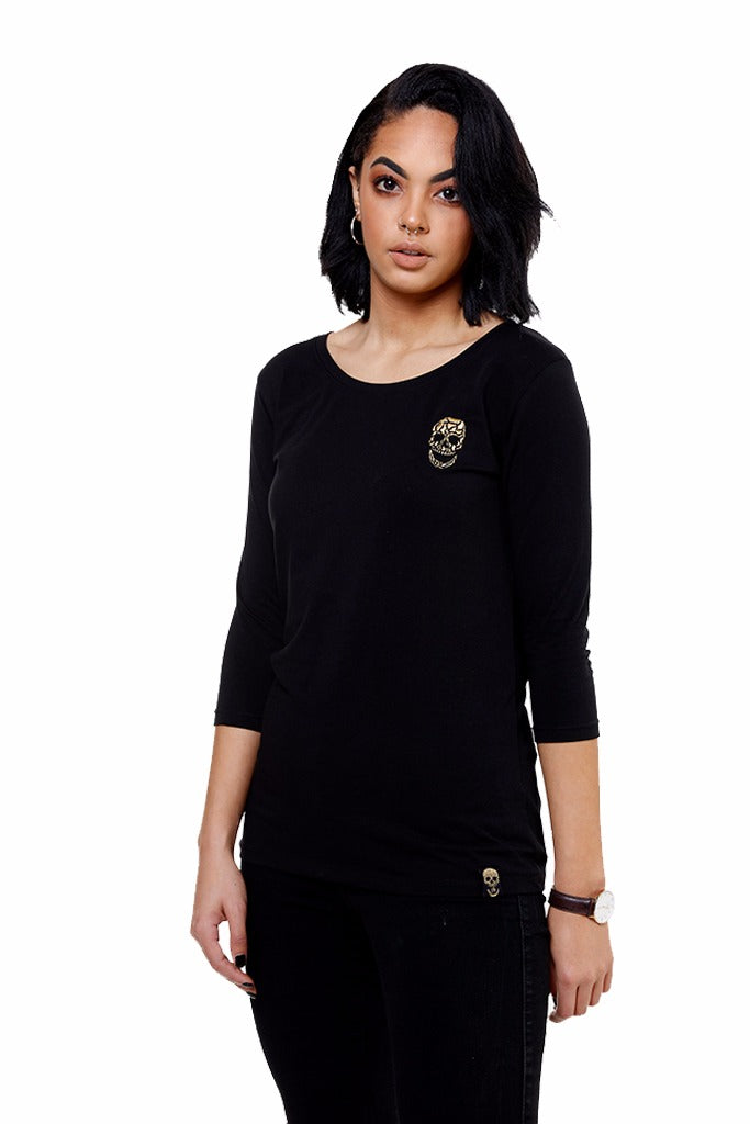 Ladies Black 3/4 Sleeve Stretch Shirt