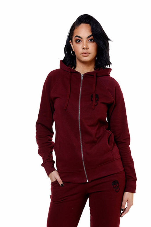 Ladies Burgundy Zip Hoody
