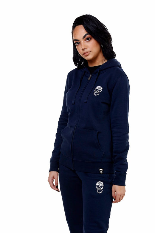 Ladies Navy Zip Hoody