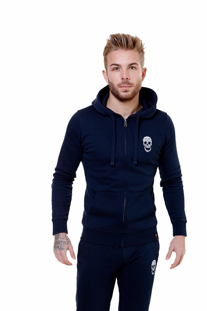 Mens Navy Zip Hoody