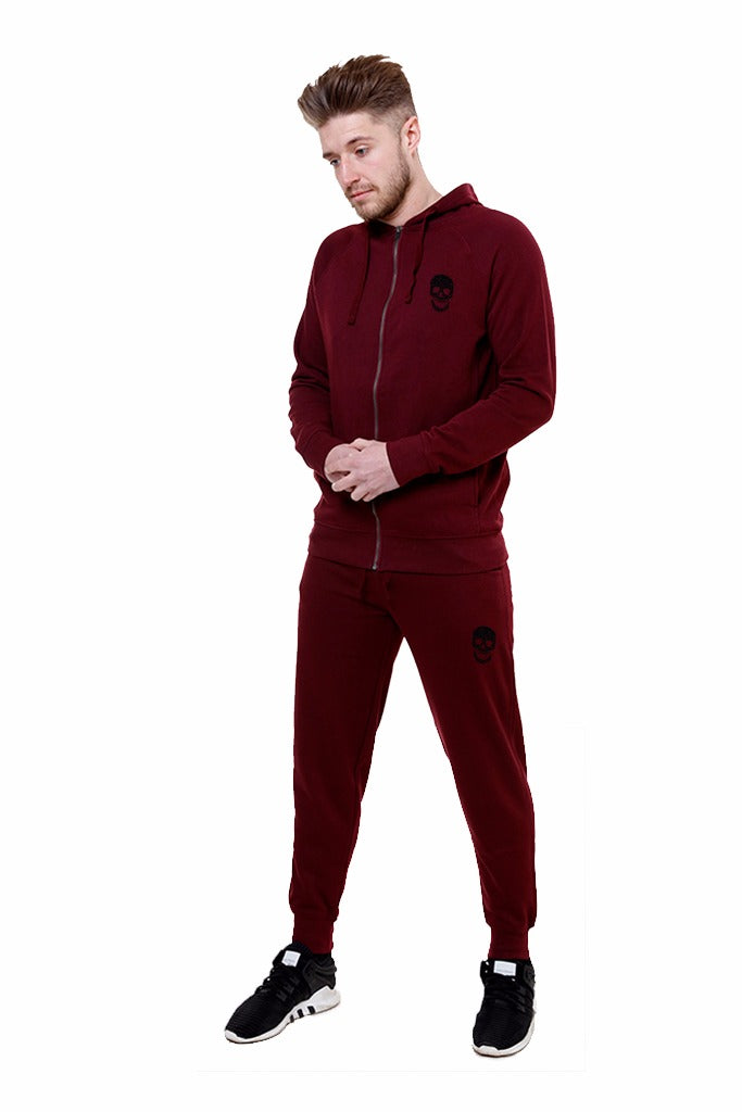 Mens Burgundy Zip Hoody