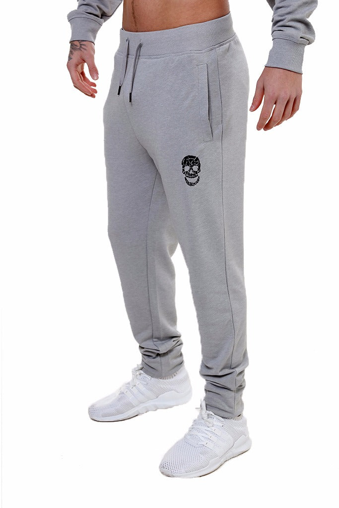Mens Slim Fit Silver Sweatpants