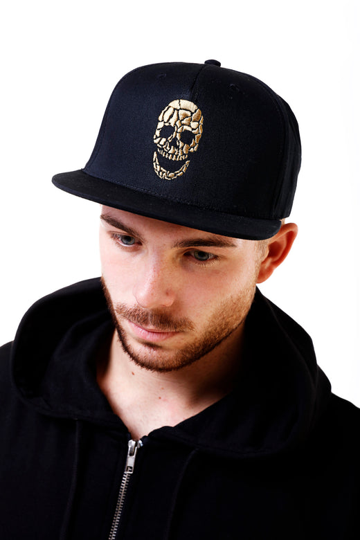 Gold Skull Black Cap