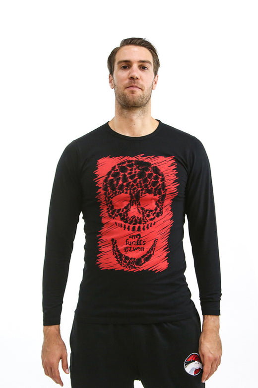 Mens Red Sketch Skull Black L/S T-Shirt