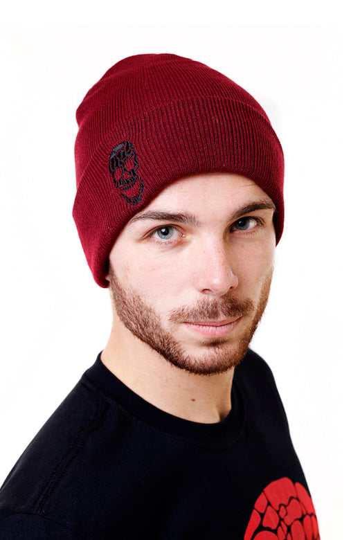 Knitted Turn-Up Beanie Burgundy