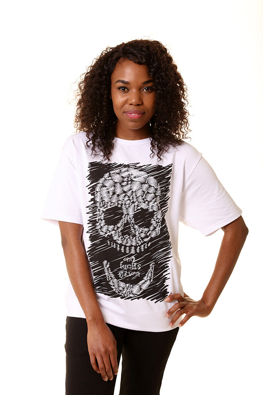 Unisex Black Sketch Skull White T-Shirt