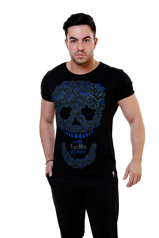 Mens Black Roses Skull T-Shirt