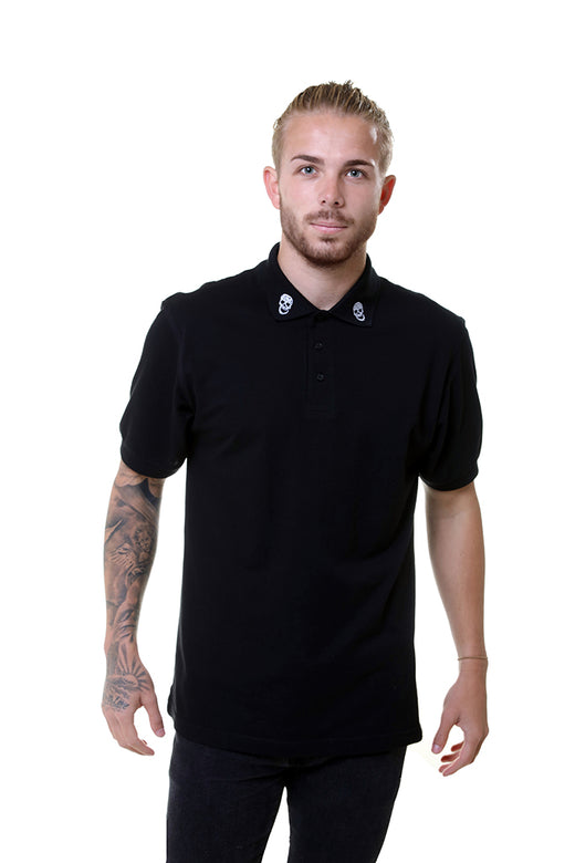 Mens Essential Collar Skull Black Polo