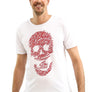 Unisex Red Zig Zag Skull White T-Shirt
