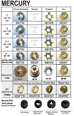 Mercury Mariner & Mercruiser Propeller nuts spacers and thrust washers and vent plugs