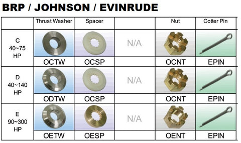 OMC Evinrude & Johnson Propeller nuts spacers and thrust washers